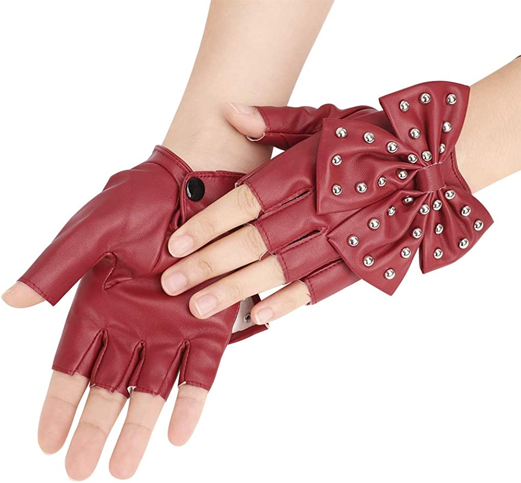 Punk Rock Stage Performance Bowknot Gloves with Rivet PU Leather Nightclub Mitten with Snap Fastener