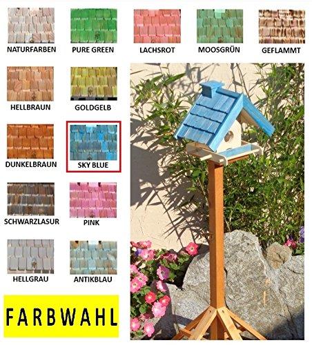 Vogelhaus mit Ständer BTV-X-VOWA3-MS-gras001 Schönes PREMIUM Vogelhaus mit Ständer KLASSIK-PREMIUM Vogelhaus 1,5 L Silo+ SICHTSCHEIBE RUND / GLAS, FUTTERVORRAT-SILO – VOGELFUTTERHAUS , wetterfestes Vogelfutterhaus MIT FUTTERSCHACHT-Futtersilo Futterstation Farbe grasgrün grün PURE GREEN kräftig tannengrün/natur, MIT TIEFEM WETTERSCHUTZ-DACH für trockenes Futter, mit Futterschacht zum Nachfüllen oben, 100% Massivholz, QUALITÄTSPRODUKT vom Schreiner - 6