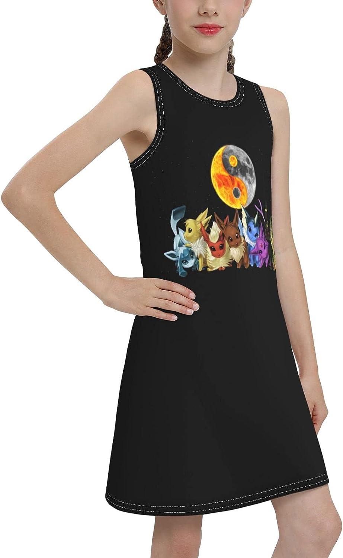 Dloqxcu Fashion Animation Design Summer Youth Girls Casual DressSleeveless Vest Suspender Sundress