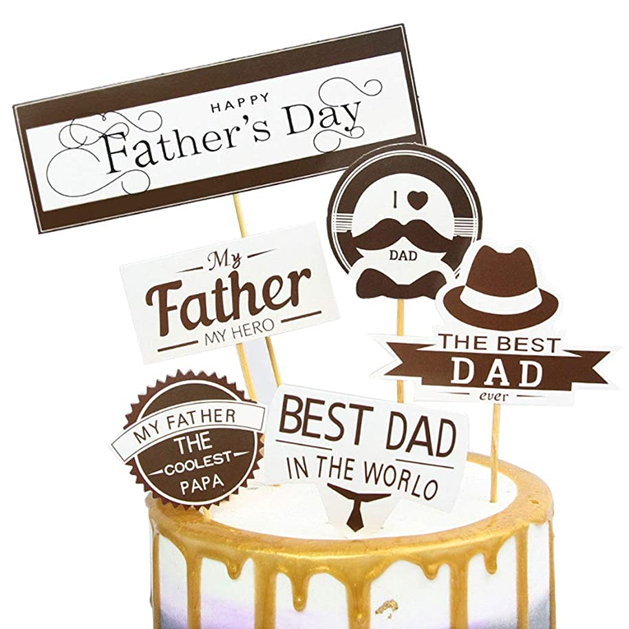 FanPa 2 Sets Cake Topper Decor for Fathers Day Cupcake Topper Hat Beard Letter Decor