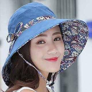 ZXH77f-Fashion hat Ladies Bucket Hat Summer Sun Hats, Sunhats Womens Foldable Roll Up Sun Hat,Packable Summer Sun Straw Hat (Color : Blue)
