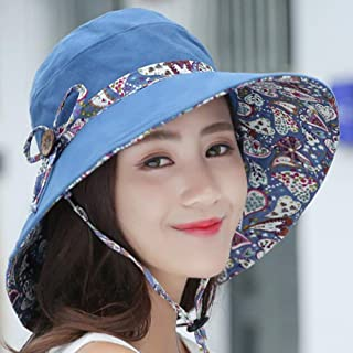 ZRL77y Ladies Bucket Hat Summer Sun Hats, Sunhats Womens Foldable Roll Up Sun Hat,Packable Summer Sun Straw Hat (Color : Blue)