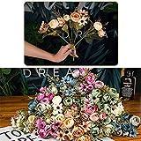 Mrjg Kunstblumen Herbst gefälschte Tee Rose Seidenblume Herbst Gerbera Daisy künstliche Plastikblume for Hochzeit Wohnaccessoires Dekoration Raumdekor Grünpflanzen (Color : Blue) - 2