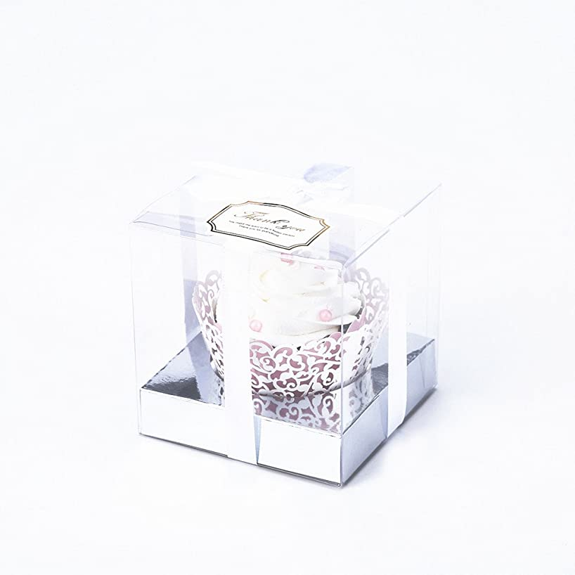 Clear Plastic Cupcake Box With Gift Ribbon, Lace Cupcake Wrapper, Lovely Stickers and Silver Inserts Wedding Party Favor Boxes 3.5 Inch -12 Sets