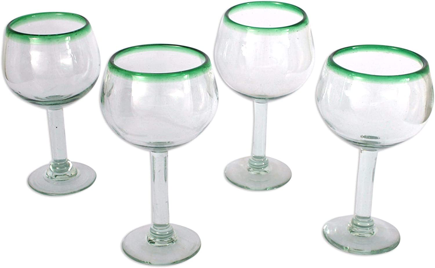 NOVICA Hand Blown Clear Green Complete Free Shipping Recycled oz Wine Glasses Glass 12 Lowest price challenge
