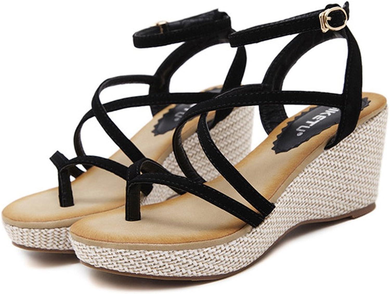 AVENBER Womens Middle Wedge Heel Sandals Platform Strappy Buckle Vintage Bohemian Espadrille Beach Wear