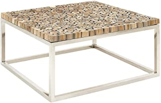 Deco 79 90901 不锈钢柚木咖啡桌,91.44 厘米 x 40.64 厘米,棕色