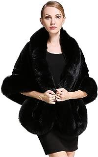 Women's Party Faux Fox Fur Long Shawl Cloak Cape Coat-S64(More Colors)