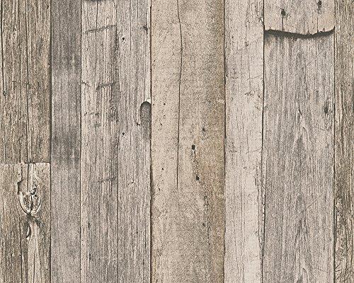 A.S. Création Vliestapete Dekora Natur Tapete in Vintage Holzoptik 10,05 m x 0,53 m beige creme schwarz Made in Germany 959312 95931-2