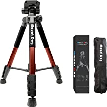 MountDog Camera Tripod 60'' Aluminum Alloy Lightweight Tripod Stand & Monopod Compact for Travel with 360° Panorama and Quick Release Plates for Canon Nikon DSLR Video Shooting - Orange