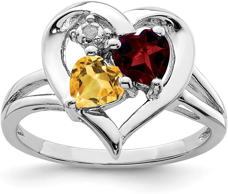 Beautiful Sterling silver 925 sterling Sterling Silver Rhodium Garnet & Citrine Diam. Ring