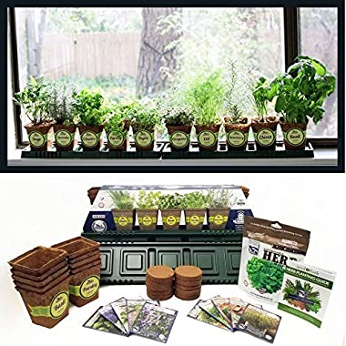 Sustainable Seed Company Windowsill Herb Garden Kit, Indoor Herb Garden Kit Complete with a 10 Variety Non GMO Heirloom Herb Seed Collection