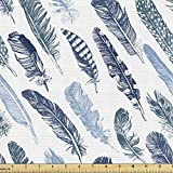 Ambesonne Vintage Tribal Fabric by The Yard, Sketch Drawn Boho Feather Theme Monochrome Composition Print, Decorative Fabric for Upholstery and Home Accents, 1 Yard, White Teal and Blue Grey