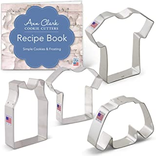 Ann Clark Cookie Cutters 4-Piece Sport Jerseys/Shirts Cookie Cutter Set with Recipe Booklet, Small & Large T Shirt, Sleeveless Shirt & Sweater