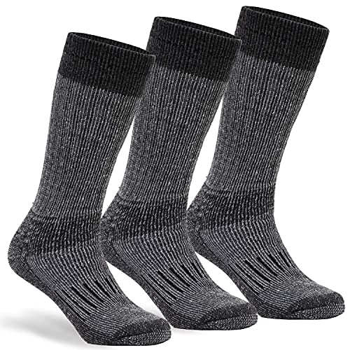 Warm Thermal Wool Socks for Winter Moisture Wicking and Breathable Cozy Boot Socks Charcoal ML