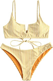 Women's V-Wired Striped Reversible Two Piece Bikini Set Strappy Swimsuit