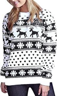 Forthery Ladies Christmas Polka Dot Bohemian Print Zip Hooded Long Sleeve Sweater Top Ugly Sweater
