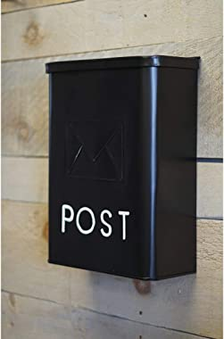 NACH Serena Traditional Classic Post Wall Mounted Galvanized Metal Mailbox, Black, 10.5 x 4 x 14 inches, Max Rust Protection,