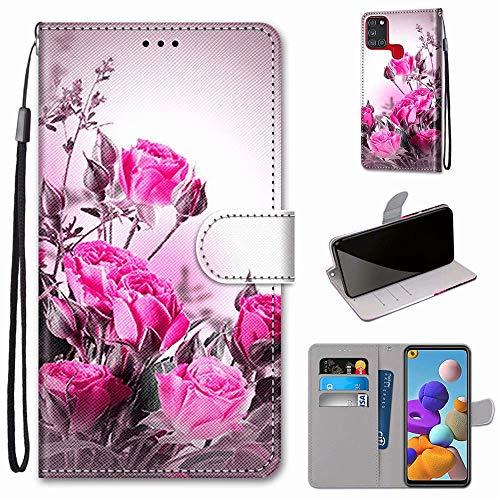 Miagon Flip PU Leder Schutzhülle für Samsung Galaxy A21S,Bunt Muster Hülle Brieftasche Case Cover Ständer mit Kartenfächer Trageschlaufe,Wild Rose