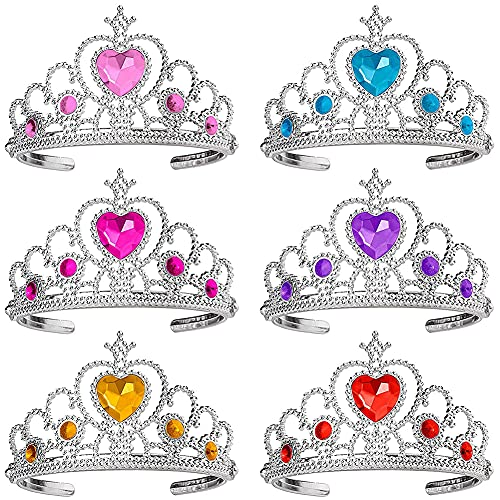 Princesa Corona Hilloly 6Pcs Niños Princesa Tiara Party Crown Set Princesa Vestir Accesorios Princesa Corona Conjunto para Decoración Navideña, Juegos de Rol, Fiestas Temáticas