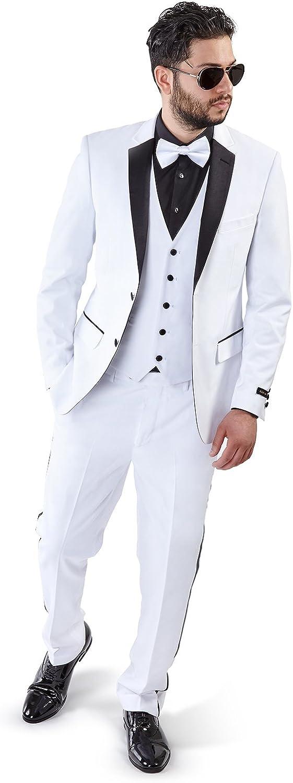 AZAR MAN Slim Fit Tuxedo Suit 2 Button 3 Piece Vested Satin Notch Lapel 4030