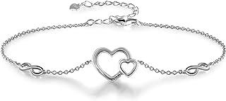 925 Sterling Silver Bracelet for Women Adjustable Love Heart Bracelets Gifts for Women Girls Girlfriend
