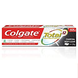 Colgate Total Whole Mouth Health, Antibacterial Toothpaste, 185g, (Charcoal Deep Clean, Saver Pack)