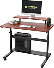 "EUREKA ERGONOMIC Height Adjustable Standing Desk, Mobile Desk with Detachable Hutch 40"", Teak"