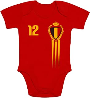 Shirtgeil België Belgien Fanartikel für Babys zur EM 2021 Baby Body Kurzarm-Body