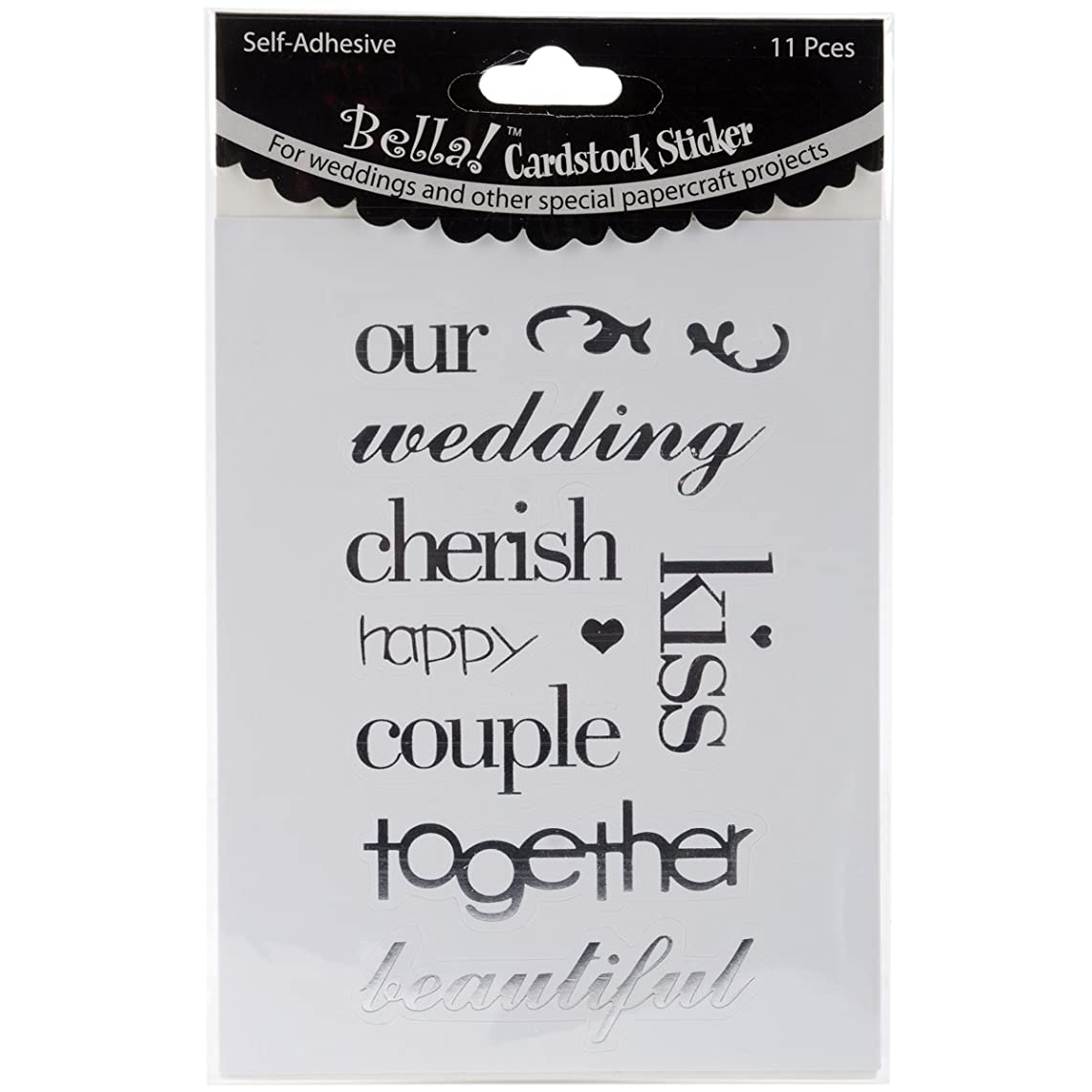 Ruby Rock-It Bella Wedding Words Cardstock Stickers, Silver, 11-Pack