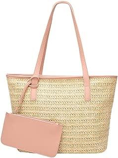 Ladies Women Casual Shoulder Bag Straw Bags Woven Bucket Bag Holiday Female Travel Tote Handbag