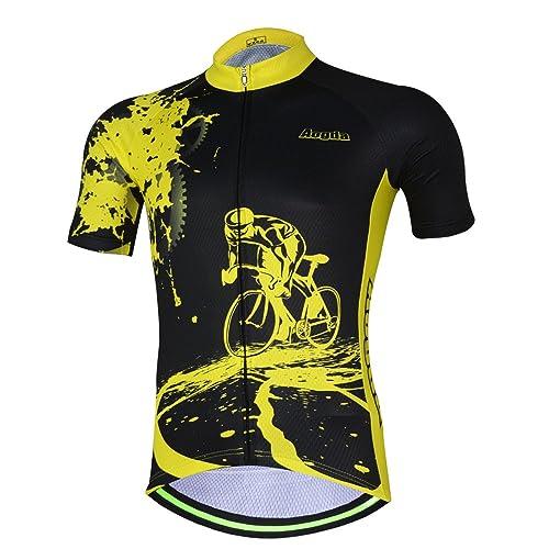 Aogda Cycling Jersey Men Bike Shirts Breathable Short Sleeves Tights Suit  Biking Bib Shorts Bicycle Jacket b0805e982