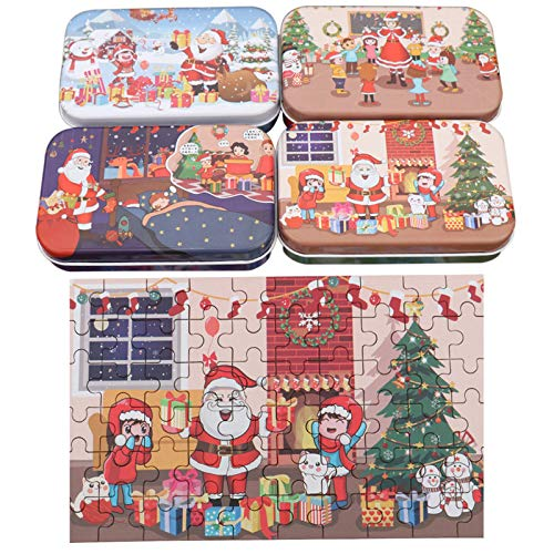 Wangjia 60 Stück Weihnachtspuzzle Heiligabend Iron Boxed Puzzle Vierteiliges Holzpuzzle Halloween Jungen und Mädchen