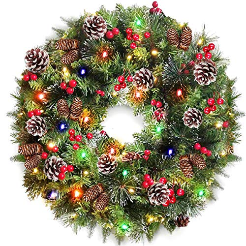 24 Inch Christmas Wreath with Light Decoration, Battery Operated with 80 LED Lights Artificial Xmas Wreath Garland 220 Branches 24 Pine Cones 60 Pcs Red Berries Snowflakes for Christmas Indoor Outdoor