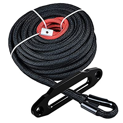 """Astra Depot Black 3/8"""" Synthetic Winch Rope 85ft 20500LBS Synthetic Winch Line Rope Cable 3/8"""" x85' w/All Heat Guard Rock Guard + 10"""" Hawse Fairlead 8000LBS-15000LBS"""