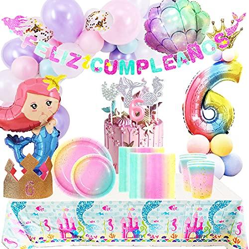Fiesta Cotigo Pack de Artículos para Fiestas Cumpleaños 6 Años-Decoraciones de Globos y Guirnalda´Feliz Cumpleaños´,Kit de Vajilla Desechable Macaron y Accesorios de Mesa-Temática Sirena,para Niñas