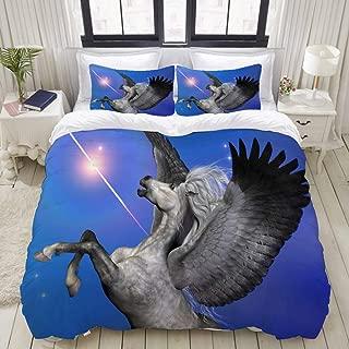 "Mokale Bedding Duvet Cover 3 Piece Set - Starburst Pegasus Unicorn - Decorative Hotel Dorm Comforter Cover with 2 Pollow Shams - King 104""x90"""