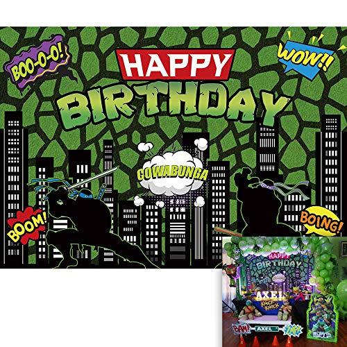 Allenjoy 7X5ft Ninja Superhero Backdrop Cityscape American Comics Buildings Scenes Photography Background Boy Birthday Party Supplies Cake Table Banner Home Decoration Photo Booth Prop