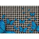 Papel pintado fotográfico de fieltro Premium Plus para pared, imagen abstracta, diseño de mariposas, color azul, n.º 358, tamaño: 368 x 254 cm, papel Blueback