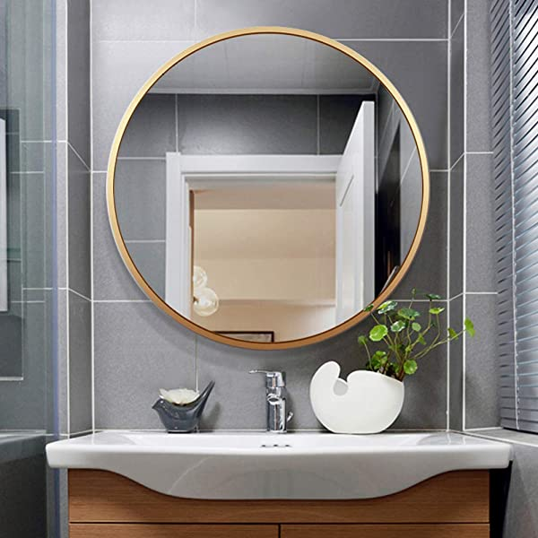 Leafshop Wall Mirror Alloy Frame Large Round Vanity Wall Hanging Mirrors For Entryways Washroom Living Room Bedroom Bathroom Home Modern Wall Art Gold 80cm