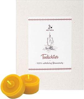 NECTARIA Teelichter aus 100% natürlichem Bienenwachs 12 Stück, handgegossen, ohne Aluhüllen