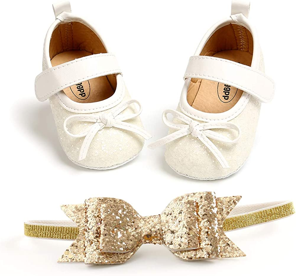 2pcs/Set Baby Girl Princess Mary Jane Flats Soft Toddler Infant Wedding Dresses Shoes with Headband