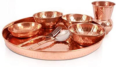 FirsteShop Pack of 8 Dinner Serving Food/Copper Traditional Thali - Home Hotel Restaurant