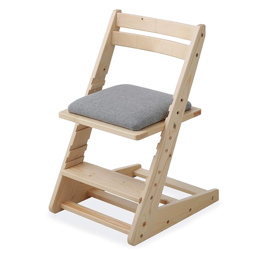 植生アウトドア翻訳するLOWYA 子ども椅子 学習チェア デスクチェア 5段階昇降 天然木 キッズ家具 ナチュラル/グレー