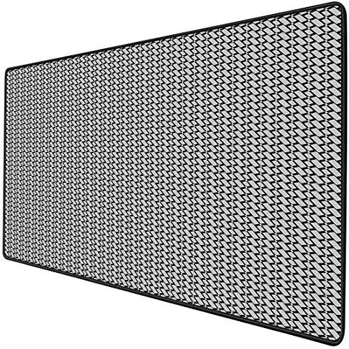 Alfombrilla para ratón Funcional para juegos Negro y gris Alfombrilla de ratón de escritorio impermeable gruesa Monótono Rectángulo diagonal Patrón de formas geométricas sobre fondo negro, Base de gom
