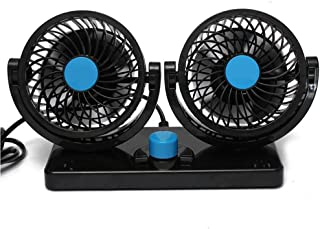 Jhua 360 Rotating Free adjustment Dual Head Car Auto Cooling Air Fan Powerful Quiet 2 Speed Rotatable 12V Ventilation Dashboard Electric Car Fans Summer Cooling Air Circulator
