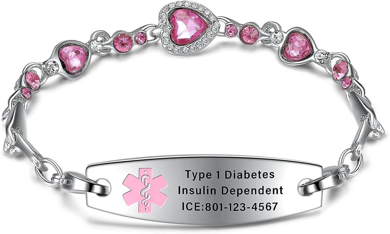 Medical Dedication Alert Bracelets for Women Love Heart Rock Mesa Mall with Crystal