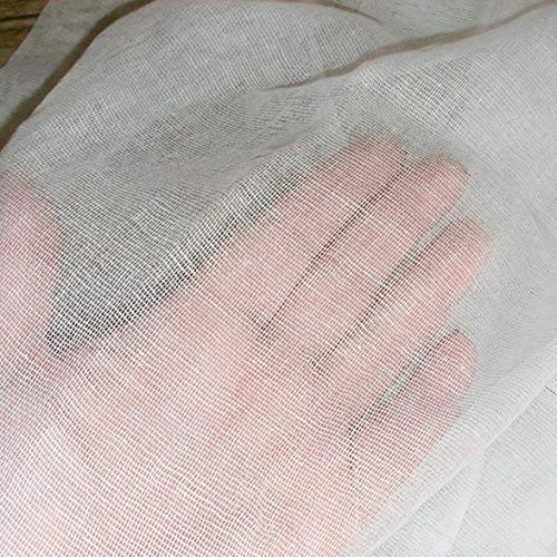 Jurmann AS Gz-Baumwollgaze, 100% Baumwolle einlagige Gaze Stoff, Gauze, Käsetücher, Filtertuch, Weiß, 90 cm breit, Meterware