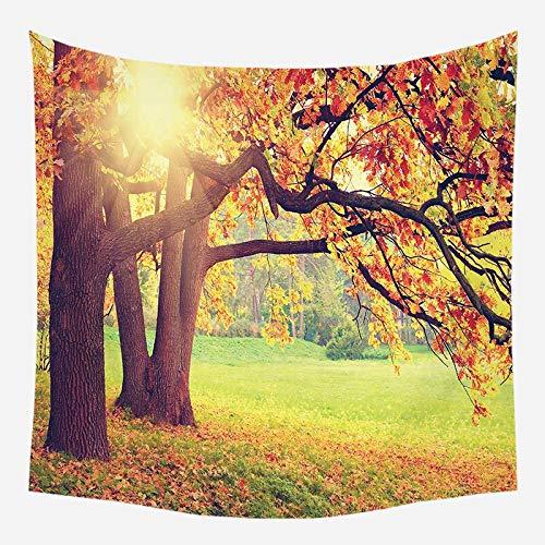 Tapiz de pared paisaje río mural hermoso paisaje cortina flor árbol tapiz tela de fondo A1 130x150cm