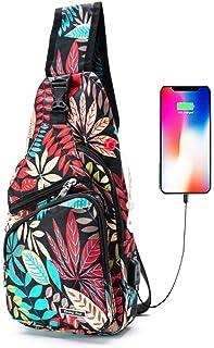 Sponsored Ad - Men Women Sling Backpack Anti Theft Crossbody Shoulder Chest Bag with USB Charging Port, Leaves